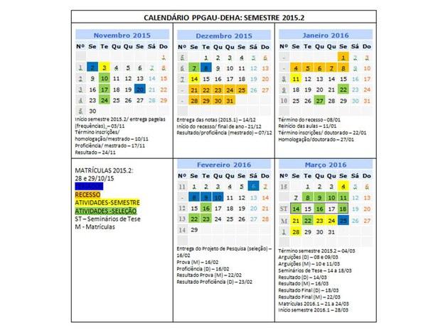 Calendário acadêmico 2015.2