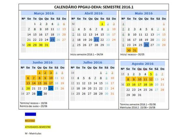 Calendário acadêmico 2016.1